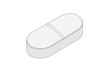 Pill. Drawing of an oval white pill vector illustration