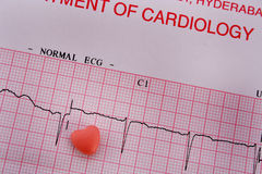 Pill and ECG print Royalty Free Stock Images
