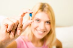 Pill in hand Royalty Free Stock Photos
