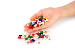 Pill in hand Royalty Free Stock Images