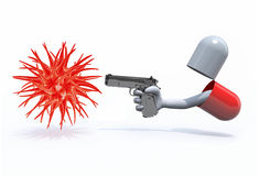 Pill with a hand gun emerging out and virus Royalty Free Stock Image