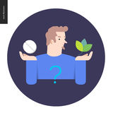 Pill or herbal. Choosing between an antibiotic pill and natural herbal treatment. Flat vector cartoon illustration of a man holding a tablet in one hand and stock illustration