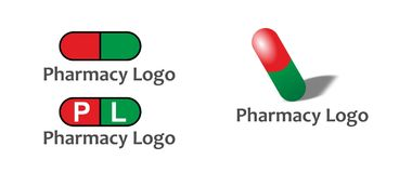 Pill logos. A set of three pill logos, two flat and the other with 3D effects Royalty Free Stock Photo