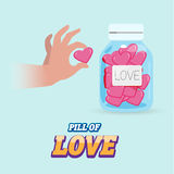 Pill of love in bottle - Royalty Free Stock Images