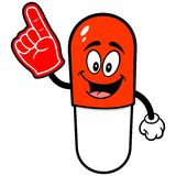Pill Mascot with Foam Finger Stock Photo