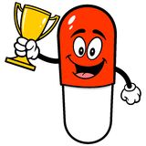 Pill Mascot with Trophy. A vector illustration of a Pill Mascot with Trophy Royalty Free Stock Photo