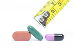 PILL AND MEDICINE CAPSULE WITH METER TAPE Stock Photo