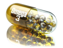 Pill with Omega 3  element. Dietary supplements. Vitamin capsule. S. 3d Royalty Free Stock Image