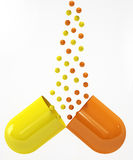 Pill Opened And On White Stock Image