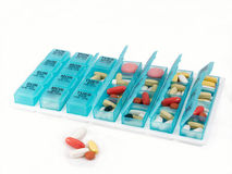 Pill organizer, wide view Royalty Free Stock Photo