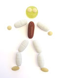 Pill person over white Royalty Free Stock Image