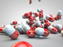 Pill Pills Capsules Medicine Illness Health. 3D rendering Stock Image