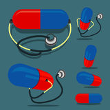 Pill (red&blue color) and Stethoscope. Pill (red and blue color) and Stethoscope Royalty Free Stock Image