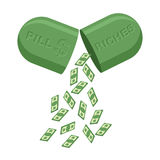 Pill for  rich. Medicine for wealth. In  tablet a lot of money, Stock Image