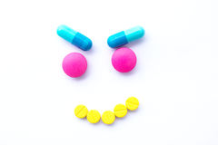 isolated white background.Pill Smile Royalty Free Stock Image