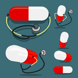 Pill and Stethoscope. Pill(red and white color) and Stethoscope Stock Image