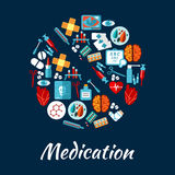 Pill symbol with flat icons of medication. Medication and medical equipment icons in a shape of a pill with syringe, thermometer, drug, heart, brain, eye, blood Stock Photos