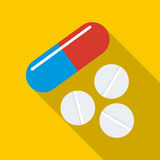 Pill and tablets icon, flat style Royalty Free Stock Photo