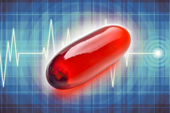 Pill vitamins. Red pill with vitamins. Metaphoric message of full of life. Pulse illustration on background Stock Photos