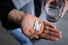 Pill and water Royalty Free Stock Photo