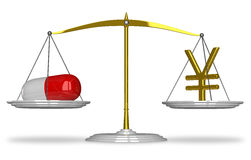 Pill and yuan sign on scales Stock Image