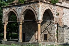 Pillar and arches on Bali Bey old ottoman mosque cultural monument. Nis, Serbia - June 04, 2018 Pillar and arches on Bali Bey old ottoman mosque cultural stock photography