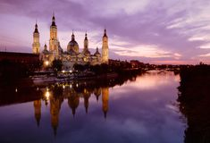 Pillar basilica in Zaragoza, Spain. Royalty Free Stock Photos