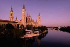 Pillar basilica in Zaragoza, Spain. Royalty Free Stock Photography