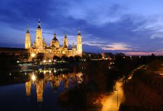 Pillar basilica in Zaragoza, Spain. Stock Photo