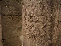 Pillar of Bayon temple in Angkor Thom, Siemreap, Cambodia.  stock images