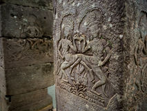 Pillar of Bayon temple in Angkor Thom, Siemreap, Cambodia.  royalty free stock photos