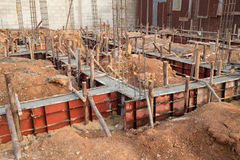 Pillar and beam being constructed at construction site Stock Photos