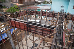 Pillar and beam being constructed. At the construction site Royalty Free Stock Images