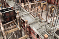 Pillar and beam being constructed Stock Photography