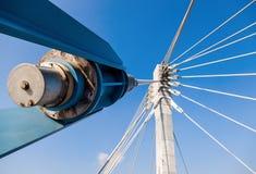 Pillar of cable bridge over blue sky Stock Photo