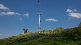 Pillar of cable car with hill station royalty free stock photography