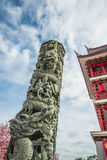 Pillar carvings dragon Royalty Free Stock Images