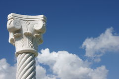 Pillar / Column. White column in blue background of sky with nice white clouds stock images