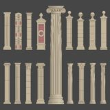 Pillar column roman greek architecture. Pillar column antique ancient old roman greek architecture vector set Stock Image