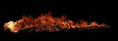 Pillar of Fire. Fire explosion isolated on black background Stock Photography