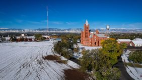 Pillar of Fire in Westminster Colorado. The Westminster Castle, also known as The Big Red Castle and The Pillar of Fire in Westminster, Colorado Stock Photo