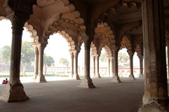 Pillar gallery. Gallery of pillars in palace in Agra,India stock image