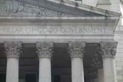 Pillar of Good Government. Inscribed on a New York City courthouse stock images