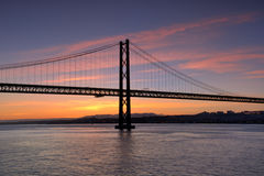 Pillar of life. A pillar of the bridge April 25, located in Lisbon and crosses the river Tejo Stock Photo