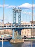 The pillar of the Manhattan bridge Stock Images