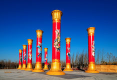 Pillar of national unity. Is the 2009 China National Day celebration of 60 years the background of one. Column height 13.6 m, 2.4 m stigma, column length 1.68 m Stock Image