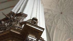 Pillar with ornament. Element of old architecture. Strength is in our legacy. Touch the old epoch stock video footage