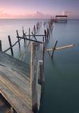 The pillar. Pier Carrasqueira stilts, only Europe, Alcácer salt, Portugal Stock Photography