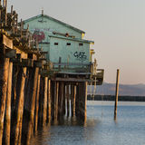 Pillar Point Pier. Late afternoon view of a derelict pier on Half Moon Bay, California Stock Photo