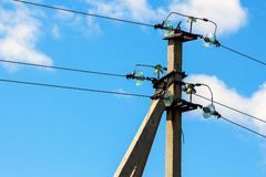 Pillar with power line Stock Image